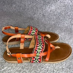 Tan Sandals with Colorful Aztec Print